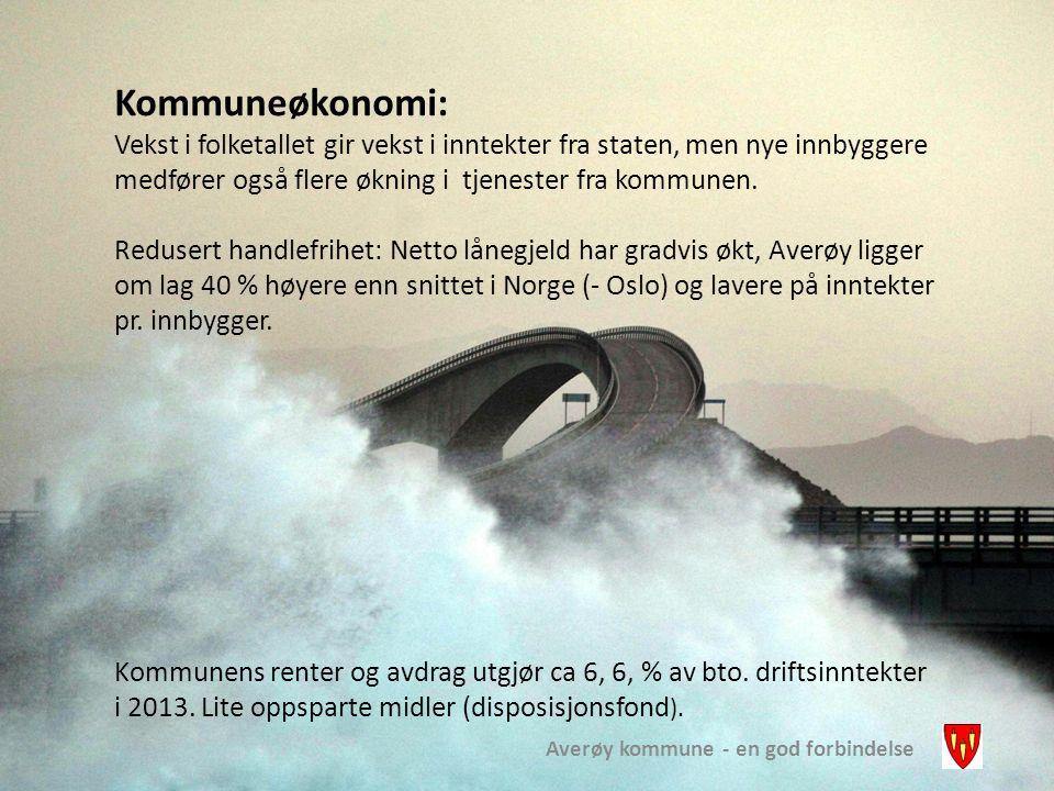 Averøy kommune - en god forbindelse Kommuneøkonomi: Vekst i folketallet gir vekst i inntekter fra staten, men nye innbyggere medfører også flere økning i tjenester fra kommunen.