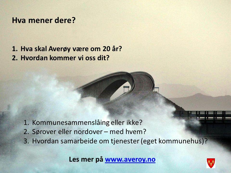 Hva mener dere? 1.Hva skal Averøy være om 20 år? 2.Hvordan kommer vi oss dit? 1.Kommunesammenslåing eller ikke? 2.Sørover eller nordover – med hvem? 3