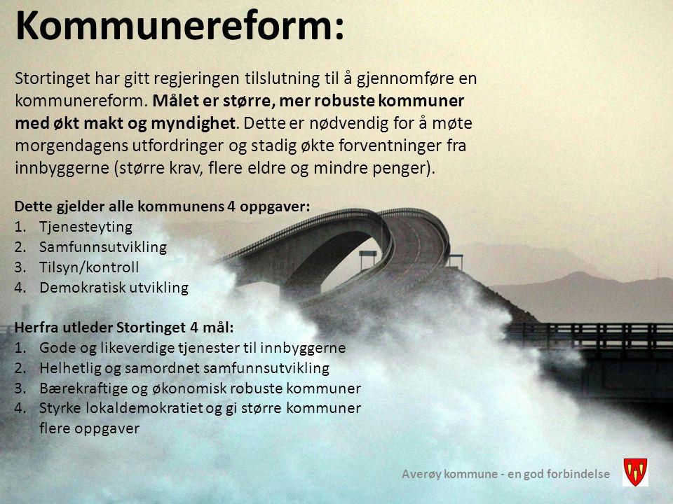 Averøy kommune - en god forbindelse Kommunereform: Stortinget har gitt regjeringen tilslutning til å gjennomføre en kommunereform. Målet er større, me