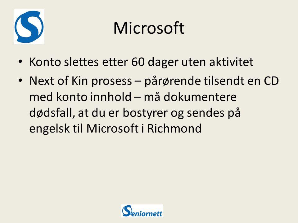 Microsoft Konto slettes etter 60 dager uten aktivitet Next of Kin prosess – pårørende tilsendt en CD med konto innhold – må dokumentere dødsfall, at du er bostyrer og sendes på engelsk til Microsoft i Richmond