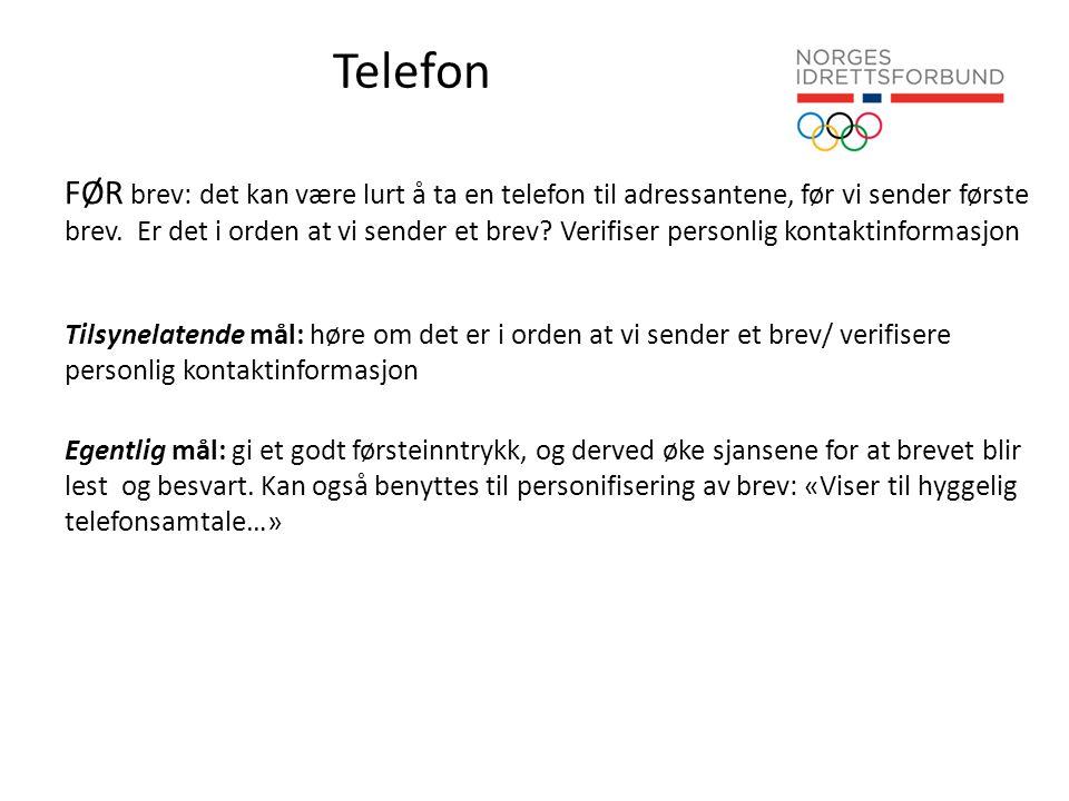 Telefon FØR brev: det kan være lurt å ta en telefon til adressantene, før vi sender første brev.