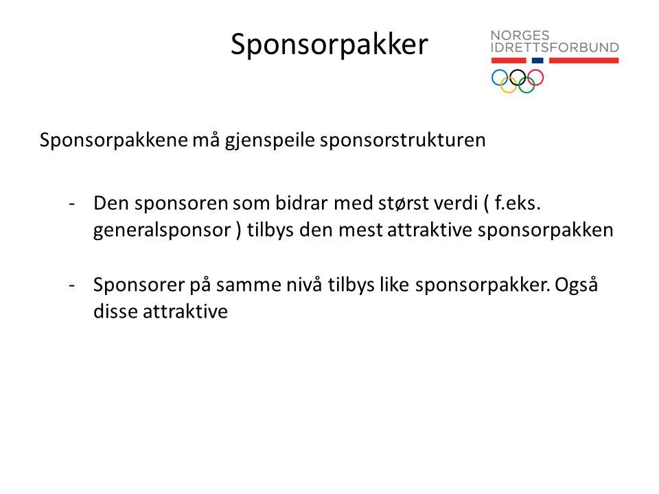 Sponsorpakker Sponsorpakkene må gjenspeile sponsorstrukturen -Den sponsoren som bidrar med størst verdi ( f.eks.
