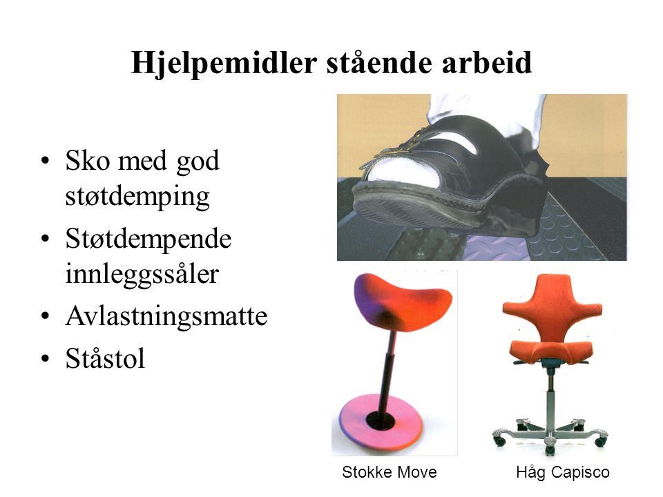 Hjelpemidler stående arbeid Sko med god støtdemping Støtdempende innleggssåler Avlastningsmatte Ståstol Stokke Move Håg Capisco