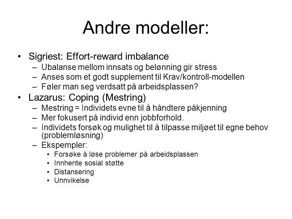 Andre modeller: Sigriest: Effort-reward imbalance –Ubalanse mellom innsats og belønning gir stress –Anses som et godt supplement til Krav/kontroll-modellen –Føler man seg verdsatt på arbeidsplassen.