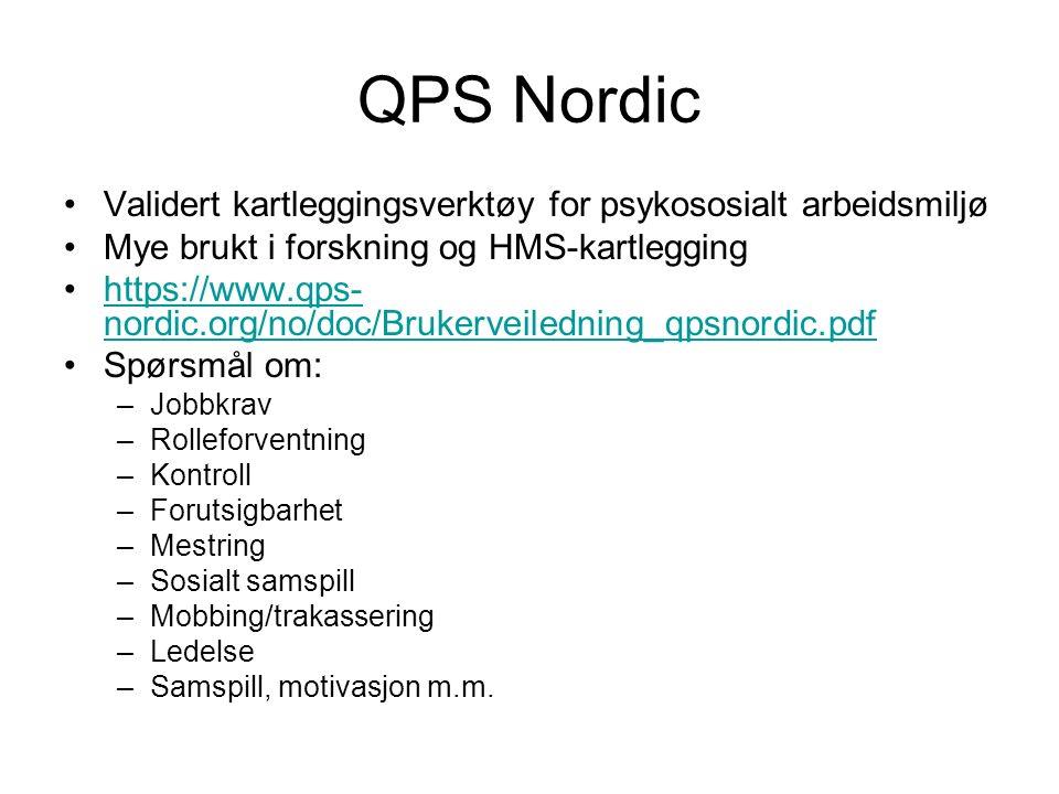 QPS Nordic Validert kartleggingsverktøy for psykososialt arbeidsmiljø Mye brukt i forskning og HMS-kartlegging https://www.qps- nordic.org/no/doc/Brukerveiledning_qpsnordic.pdfhttps://www.qps- nordic.org/no/doc/Brukerveiledning_qpsnordic.pdf Spørsmål om: –Jobbkrav –Rolleforventning –Kontroll –Forutsigbarhet –Mestring –Sosialt samspill –Mobbing/trakassering –Ledelse –Samspill, motivasjon m.m.