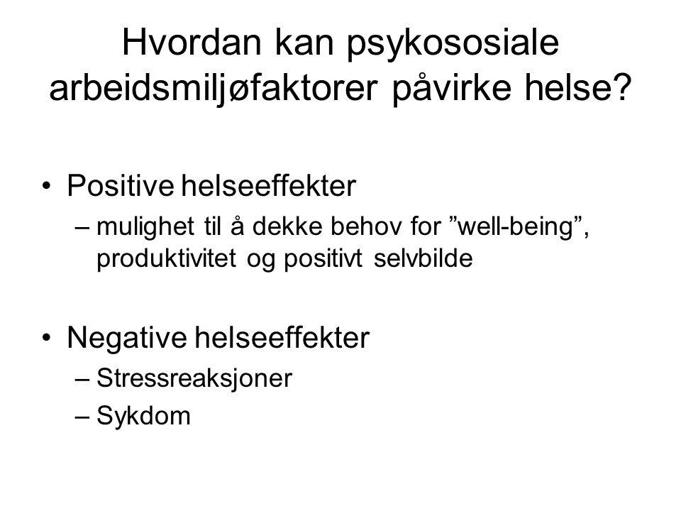 Hvordan kan psykososiale arbeidsmiljøfaktorer påvirke helse.