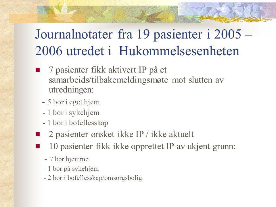 Journalnotater fra 19 pasienter i 2005 – 2006 utredet i Hukommelsesenheten 7 pasienter fikk aktivert IP på et samarbeids/tilbakemeldingsmøte mot slutten av utredningen: - 5 bor i eget hjem - 1 bor i sykehjem - 1 bor i bofellesskap 2 pasienter ønsket ikke IP / ikke aktuelt 10 pasienter fikk ikke opprettet IP av ukjent grunn: - 7 bor hjemme - 1 bor på sykehjem - 2 bor i bofellesskap/omsorgsbolig