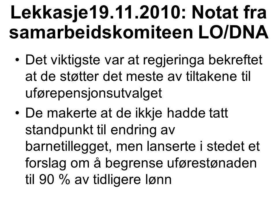 Lekkasje19.11.2010: Notat fra samarbeidskomiteen LO/DNA Det viktigste var at regjeringa bekreftet at de støtter det meste av tiltakene til uførepensjo