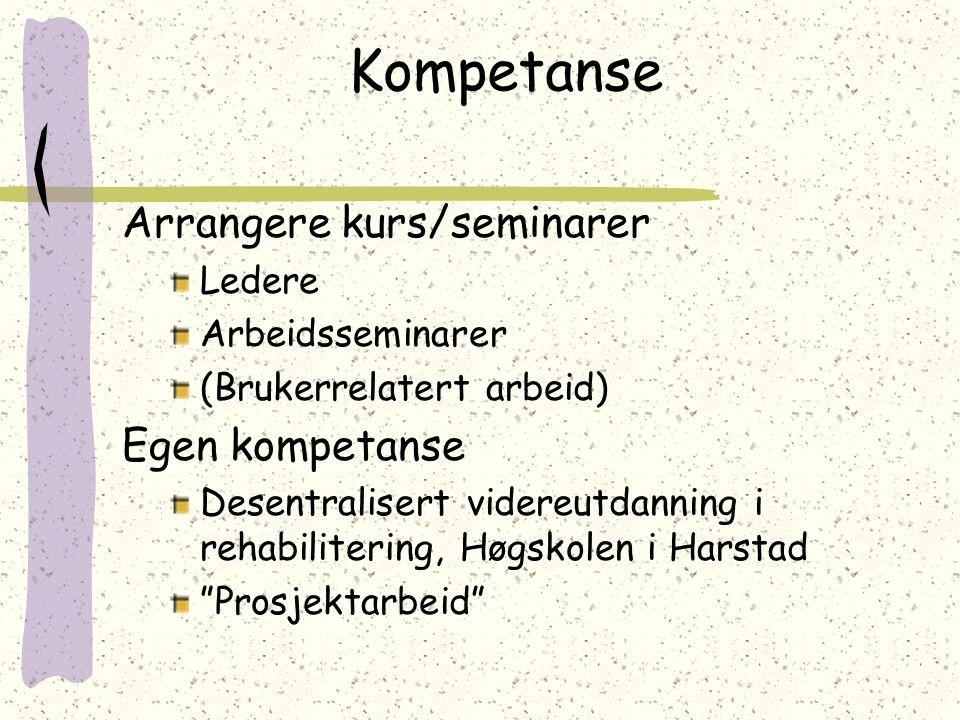 Kompetanse Arrangere kurs/seminarer Ledere Arbeidsseminarer (Brukerrelatert arbeid) Egen kompetanse Desentralisert videreutdanning i rehabilitering, H