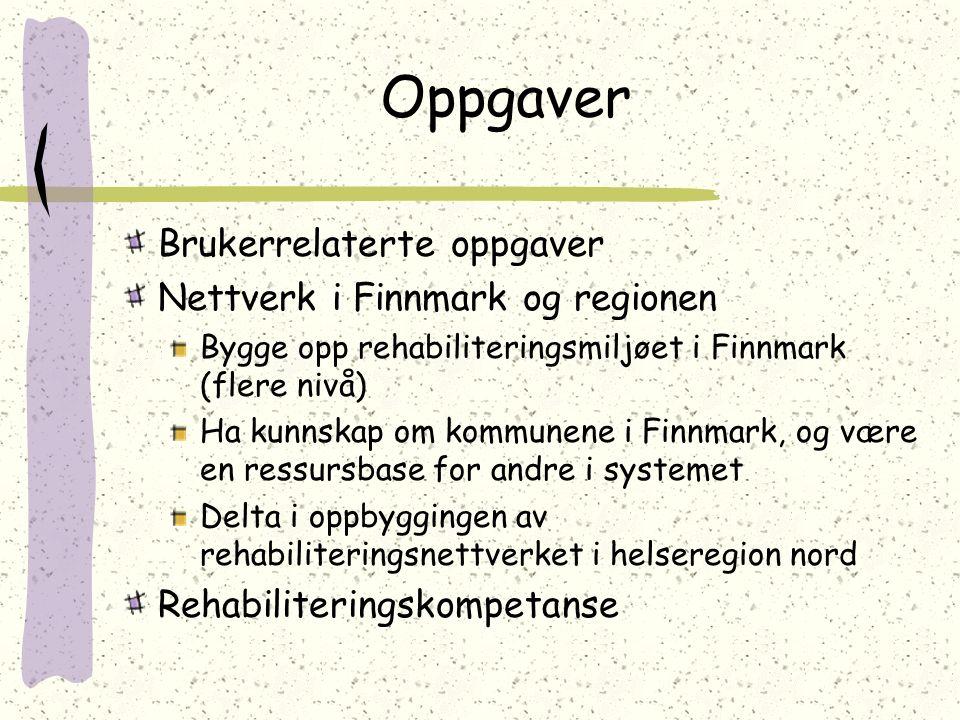 Oppgaver Brukerrelaterte oppgaver Nettverk i Finnmark og regionen Bygge opp rehabiliteringsmiljøet i Finnmark (flere nivå) Ha kunnskap om kommunene i