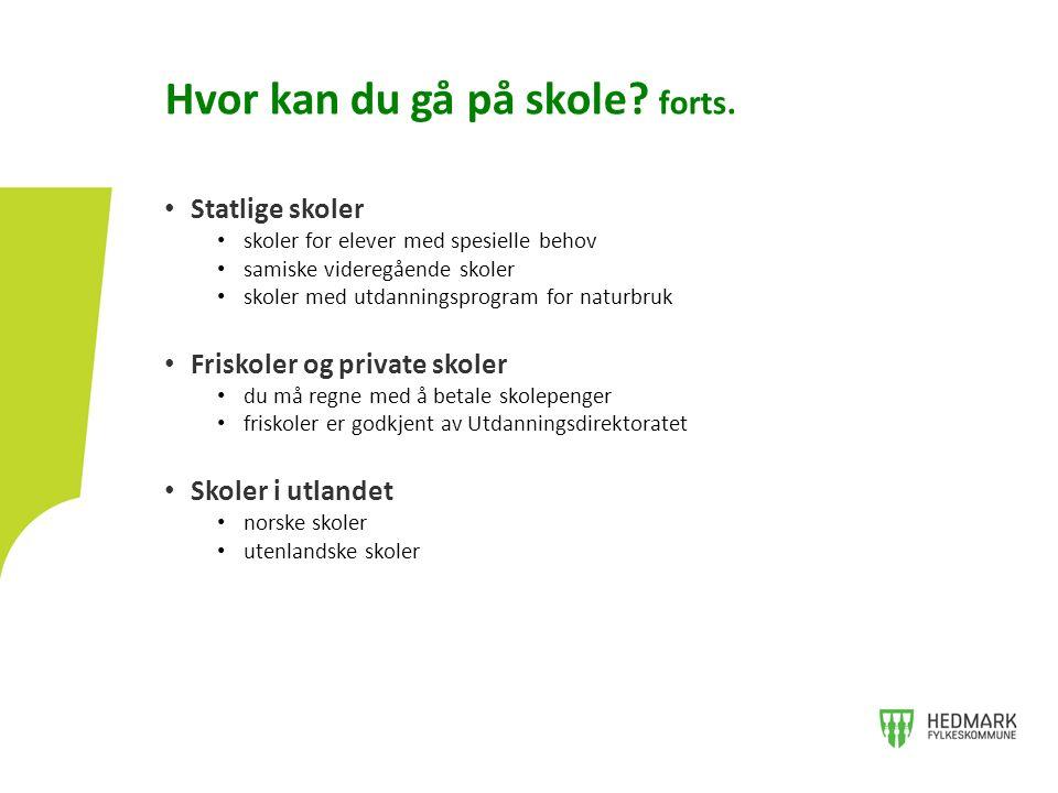 Statlige skoler skoler for elever med spesielle behov samiske videregående skoler skoler med utdanningsprogram for naturbruk Friskoler og private skoler du må regne med å betale skolepenger friskoler er godkjent av Utdanningsdirektoratet Skoler i utlandet norske skoler utenlandske skoler Hvor kan du gå på skole.