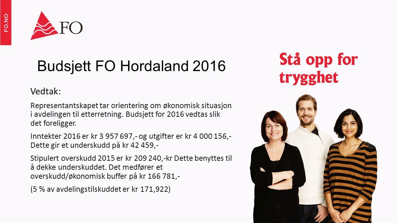 Budsjett FO Hordaland 2016 Vedtak: Representantskapet tar orientering om økonomisk situasjon i avdelingen til etterretning.