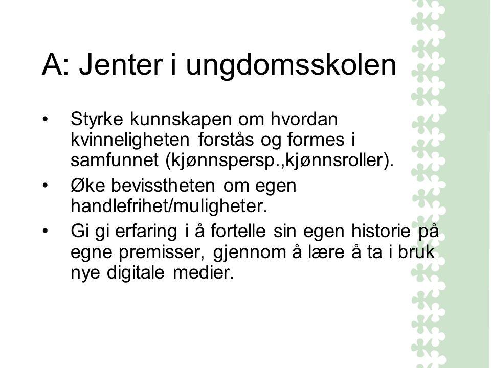 A: Jenter i ungdomsskolen Styrke kunnskapen om hvordan kvinneligheten forstås og formes i samfunnet (kjønnspersp.,kjønnsroller).