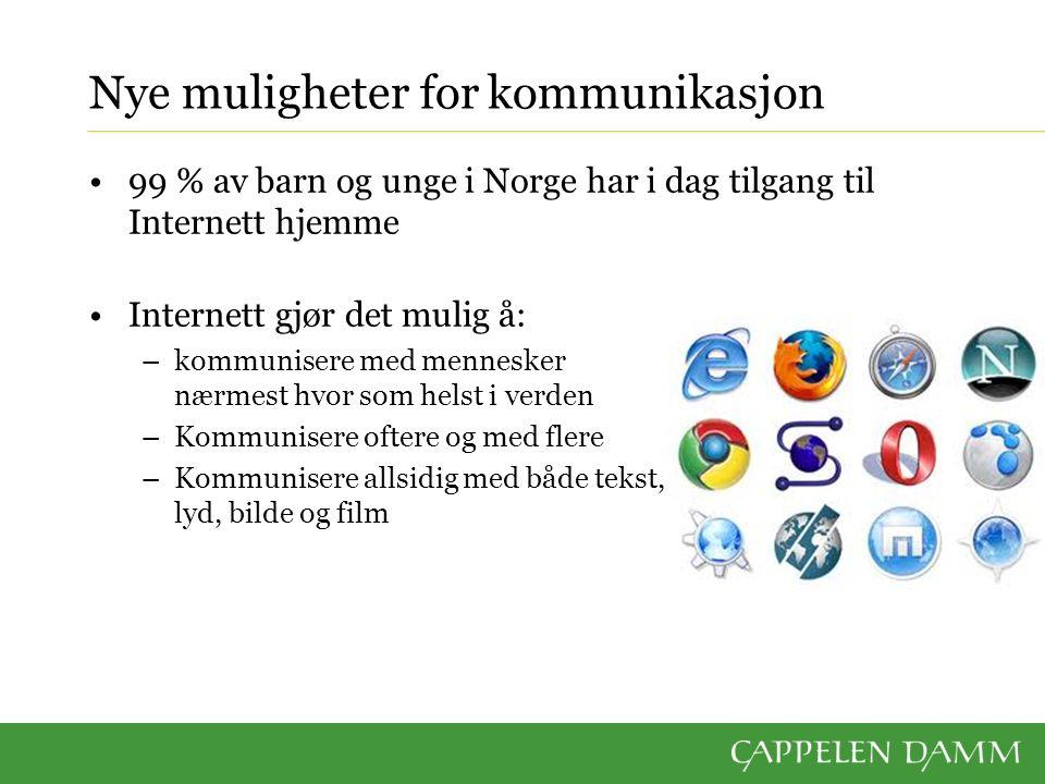 Nye muligheter for kommunikasjon 99 % av barn og unge i Norge har i dag tilgang til Internett hjemme Internett gjør det mulig å: –kommunisere med mennesker nærmest hvor som helst i verden –Kommunisere oftere og med flere –Kommunisere allsidig med både tekst, lyd, bilde og film