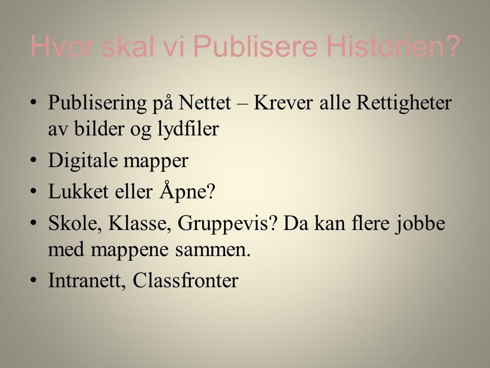 Hvor skal vi Publisere Historien.