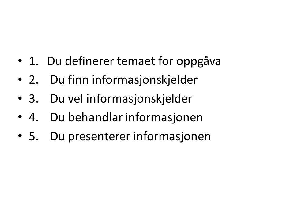 1.Du definerer temaet for oppgåva 2. Du finn informasjonskjelder 3.