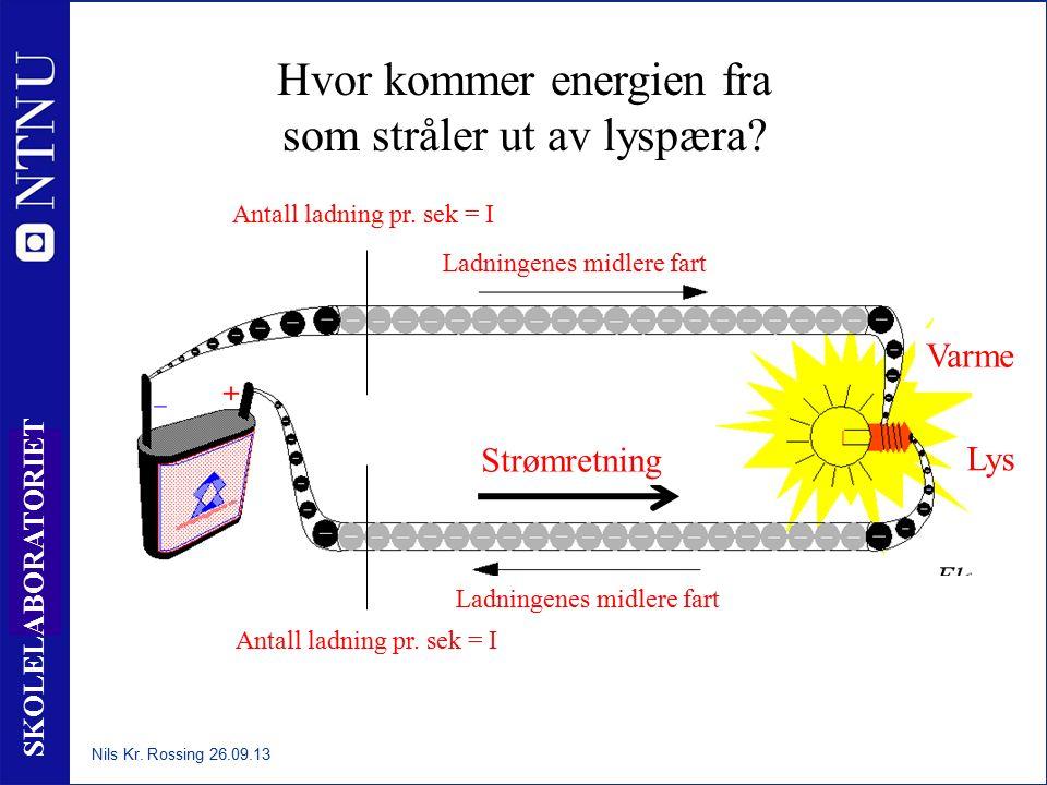 11 SKOLELABORATORIET Antall ladning pr. sek = I Ladningenes midlere fart Antall ladning pr. sek = I Ladningenes midlere fart Hvor kommer energien fra