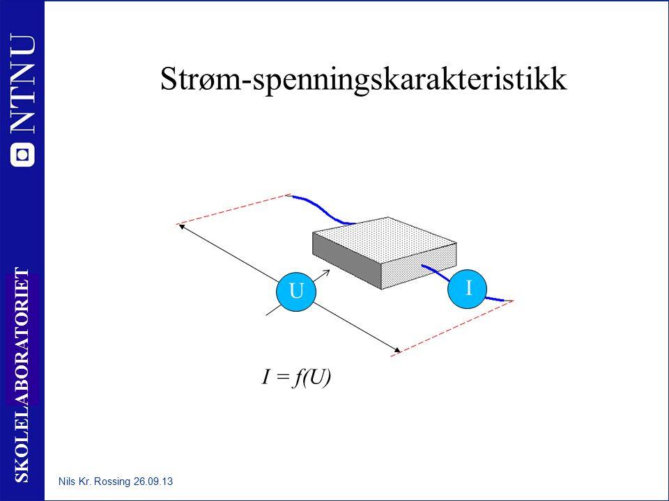 21 SKOLELABORATORIET Strøm-spenningskarakteristikk I U I = f(U) Nils Kr. Rossing 26.09.13