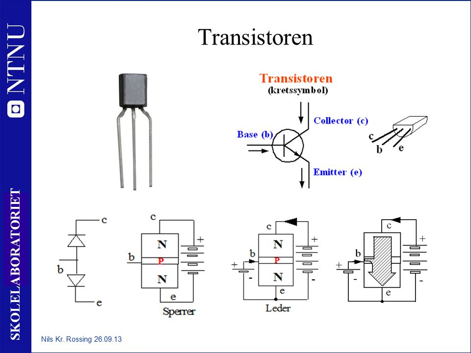 31 SKOLELABORATORIET Transistoren Nils Kr. Rossing 26.09.13