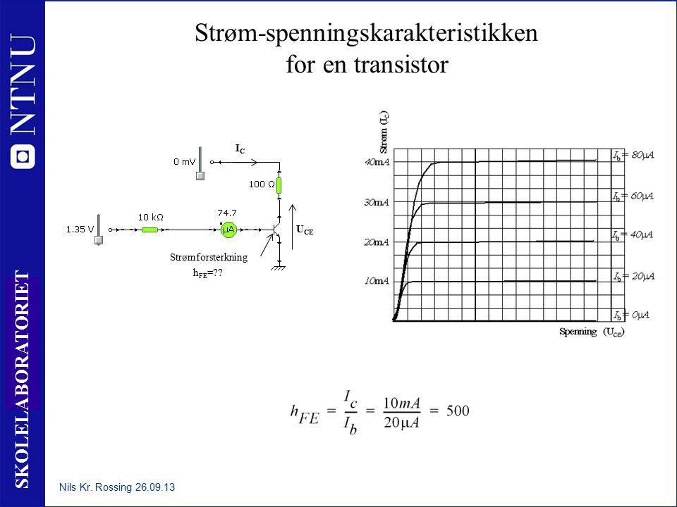 33 SKOLELABORATORIET Strøm-spenningskarakteristikken for en transistor Nils Kr. Rossing 26.09.13 Strømforsterkning h FE =?? U CE ICIC