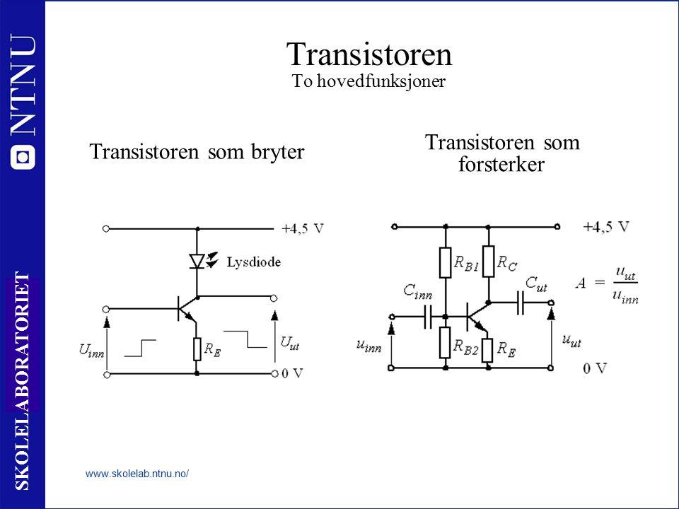 34 SKOLELABORATORIET Transistoren To hovedfunksjoner www.skolelab.ntnu.no/ Transistoren som bryter Transistoren som forsterker