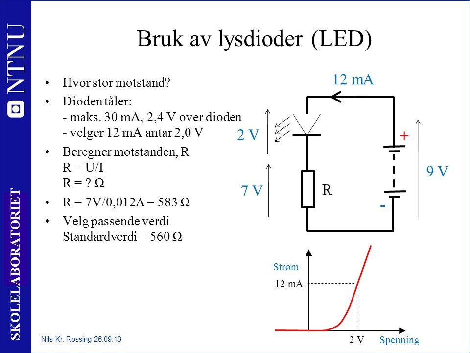 38 SKOLELABORATORIET Bruk av lysdioder (LED) Hvor stor motstand? Dioden tåler: - maks. 30 mA, 2,4 V over dioden - velger 12 mA antar 2,0 V Beregner mo