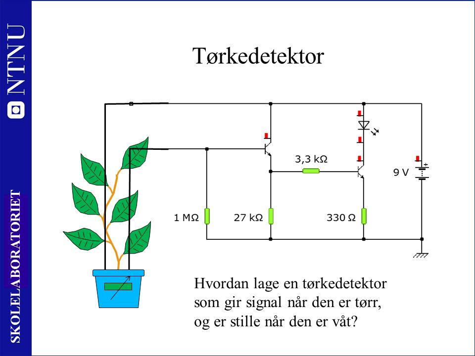 43 SKOLELABORATORIET Tørkedetektor Hvordan lage en tørkedetektor som gir signal når den er tørr, og er stille når den er våt?