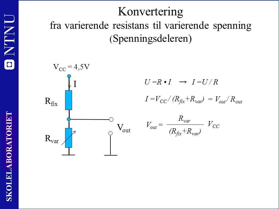 45 SKOLELABORATORIET R var Konvertering fra varierende resistans til varierende spenning ( Spenningsdeleren) R fix V CC = 4,5V I I =V CC / (R fix +R var ) V out R var (R fix +R var ) V CC V out = U =R II =U / R → = V out / R out