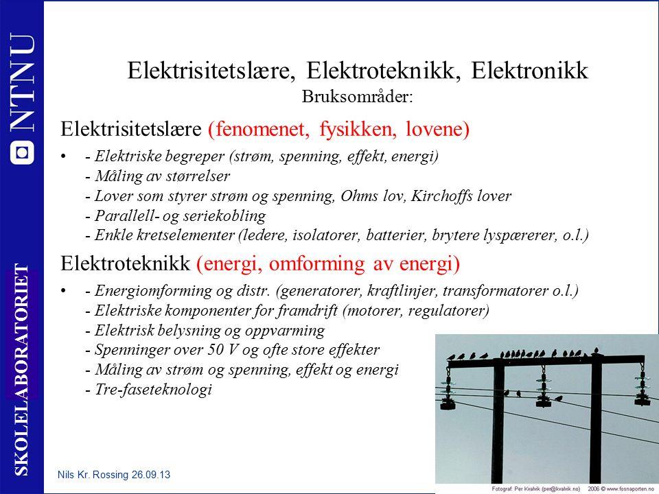 7 SKOLELABORATORIET Elektrisitetslære, Elektroteknikk, Elektronikk Bruksområder: Elektrisitetslære (fenomenet, fysikken, lovene) - Elektriske begreper (strøm, spenning, effekt, energi) - Måling av størrelser - Lover som styrer strøm og spenning, Ohms lov, Kirchoffs lover - Parallell- og seriekobling - Enkle kretselementer (ledere, isolatorer, batterier, brytere lyspærerer, o.l.) Elektroteknikk (energi, omforming av energi) - Energiomforming og distr.