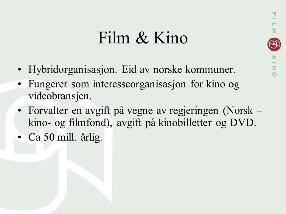 Film & Kino Hybridorganisasjon. Eid av norske kommuner. Fungerer som interesseorganisasjon for kino og videobransjen. Forvalter en avgift på vegne av