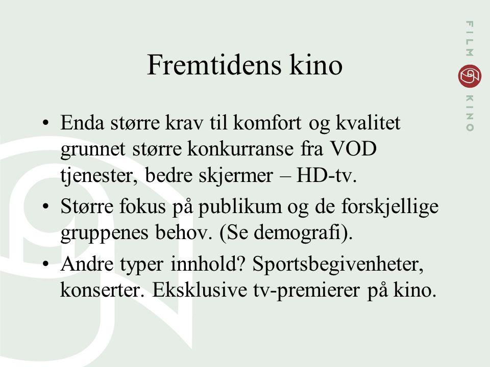 Fremtidens kino Enda større krav til komfort og kvalitet grunnet større konkurranse fra VOD tjenester, bedre skjermer – HD-tv.