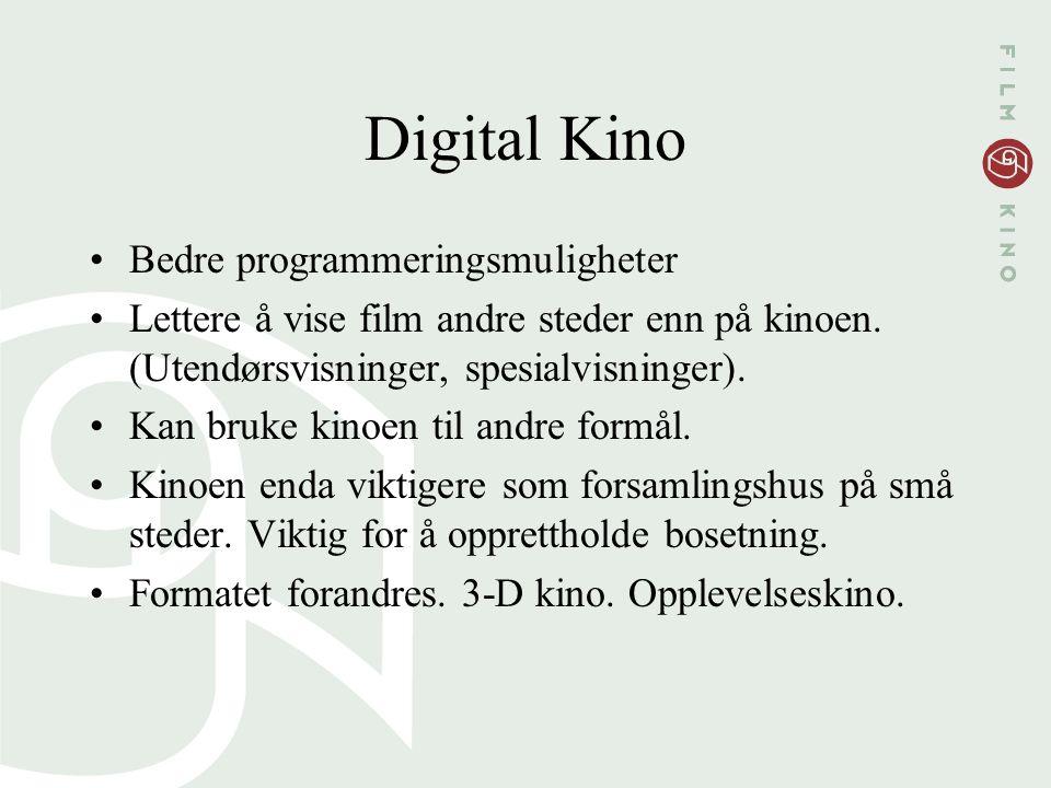Digital Kino Bedre programmeringsmuligheter Lettere å vise film andre steder enn på kinoen. (Utendørsvisninger, spesialvisninger). Kan bruke kinoen ti