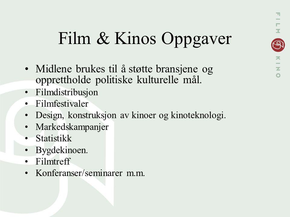 Film & Kinos Oppgaver Midlene brukes til å støtte bransjene og opprettholde politiske kulturelle mål. Filmdistribusjon Filmfestivaler Design, konstruk