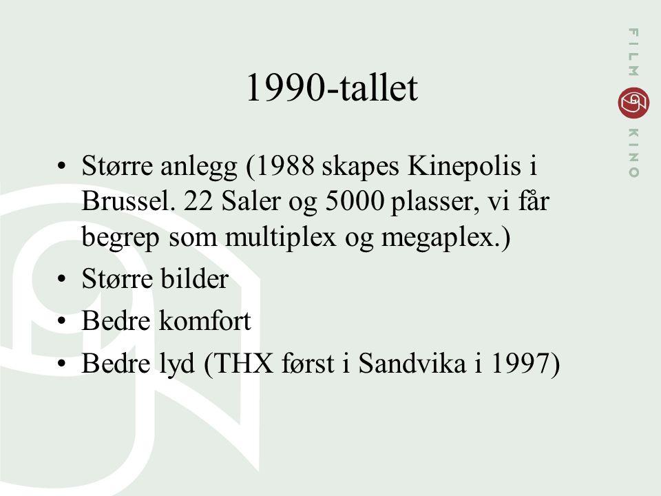 1990-tallet Større anlegg (1988 skapes Kinepolis i Brussel. 22 Saler og 5000 plasser, vi får begrep som multiplex og megaplex.) Større bilder Bedre ko