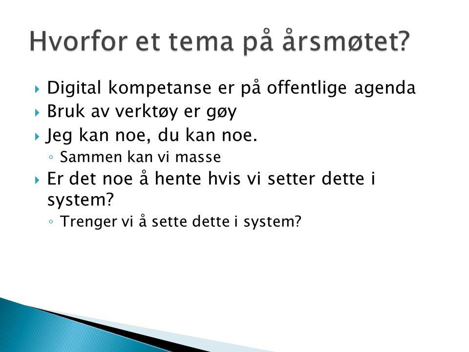  Digital kompetanse er på offentlige agenda  Bruk av verktøy er gøy  Jeg kan noe, du kan noe.