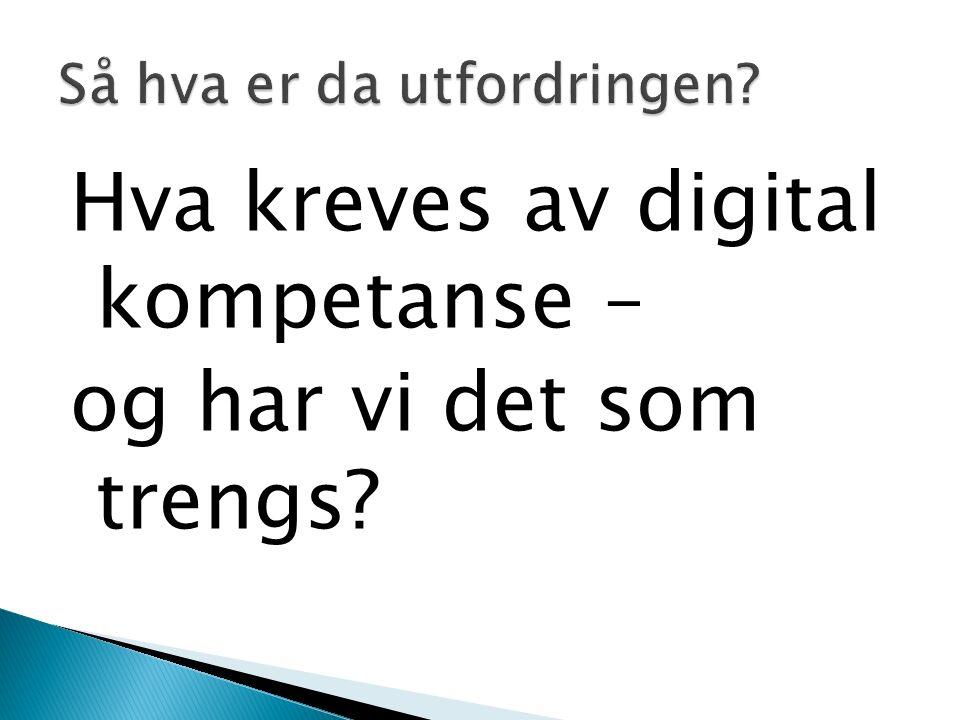 Hva kreves av digital kompetanse – og har vi det som trengs