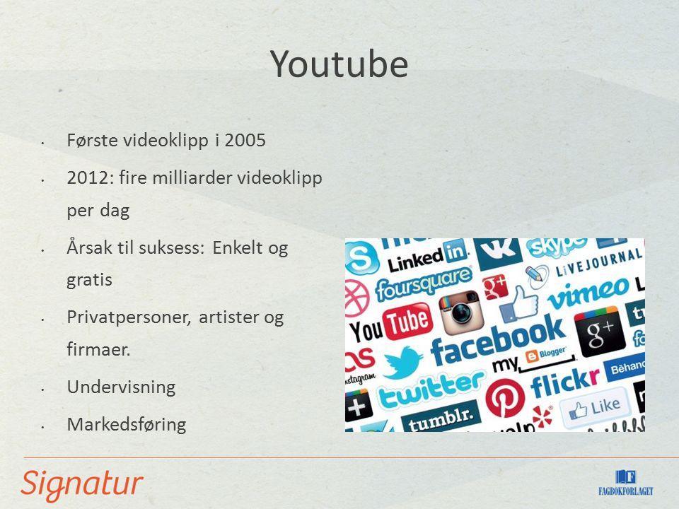 Youtube Første videoklipp i 2005 2012: fire milliarder videoklipp per dag Årsak til suksess: Enkelt og gratis Privatpersoner, artister og firmaer.