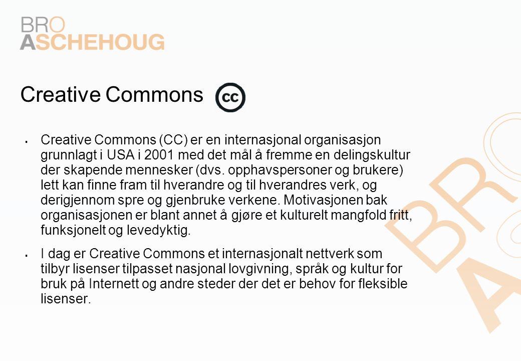 Creative Commons  Creative Commons (CC) er en internasjonal organisasjon grunnlagt i USA i 2001 med det mål å fremme en delingskultur der skapende me