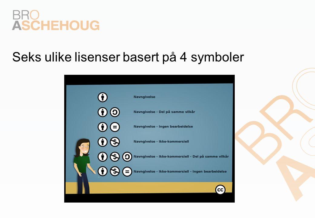 Seks ulike lisenser basert på 4 symboler