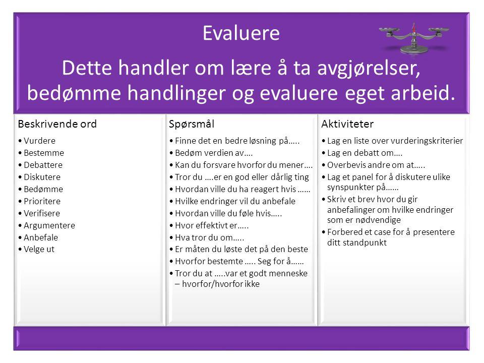 Evaluere Dette handler om lære å ta avgjørelser, bedømme handlinger og evaluere eget arbeid.