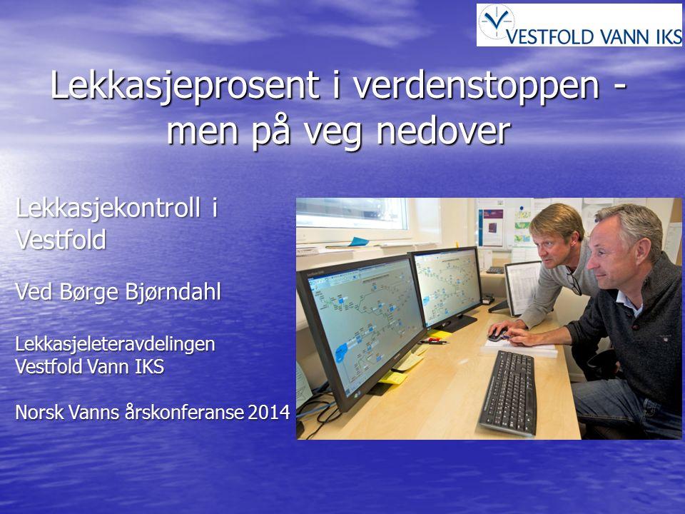 Lekkasjekontroll i Tønsberg kommune Nøkkeltall for Tønsberg kommune Historikk Modell for beregning av lekkasjenivå for VIV kommuner Topp - ned vannbalansemetode utarbeidet av IWA (International Water Association) 20112012201320142015 A.