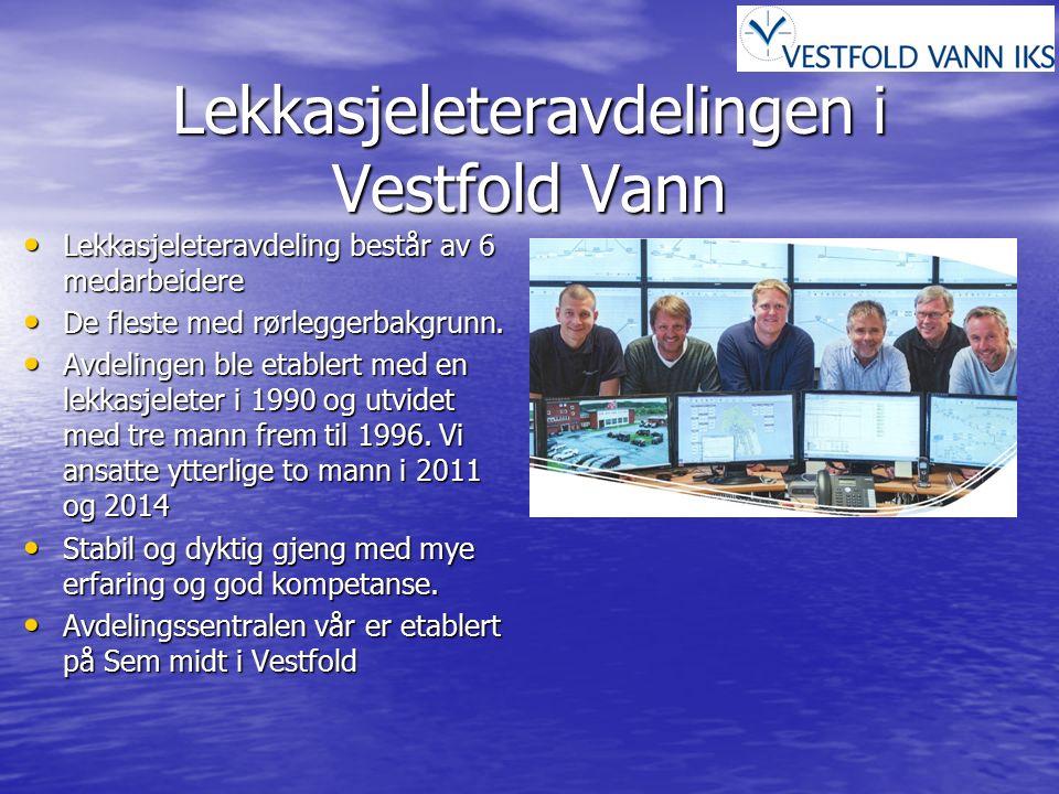 Lekkasjeleteravdelingen i Vestfold Vann Lekkasjeleteravdeling består av 6 medarbeidere Lekkasjeleteravdeling består av 6 medarbeidere De fleste med rørleggerbakgrunn.