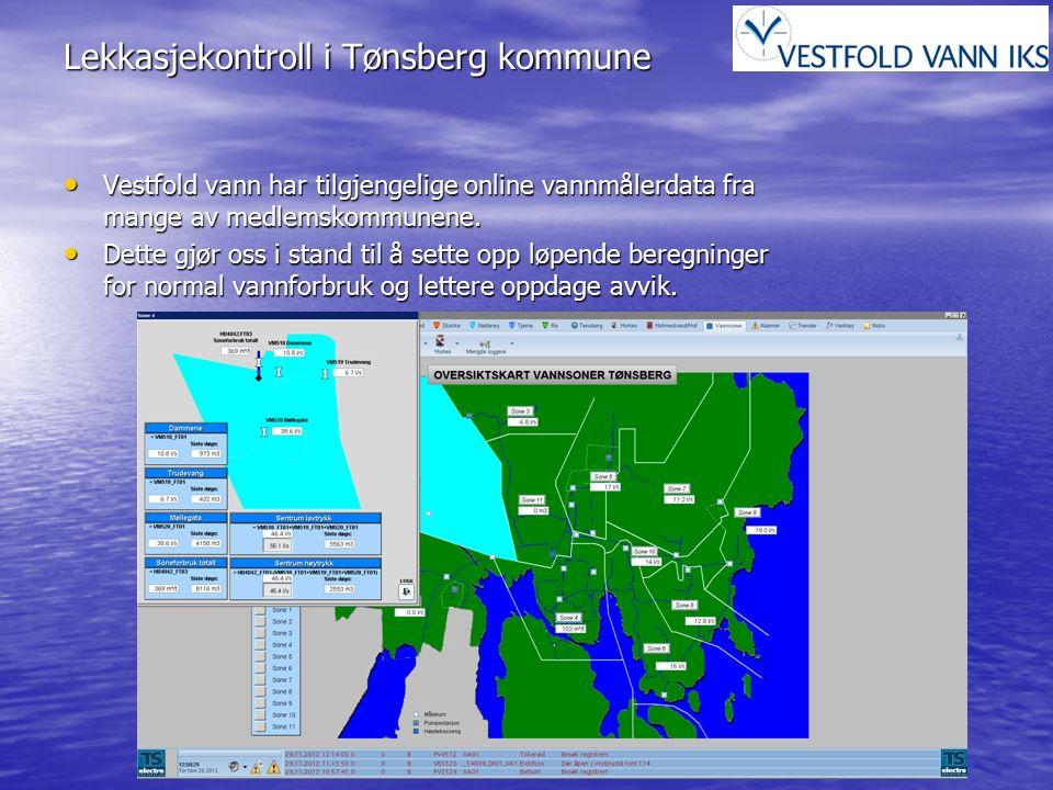 Lekkasjekontroll i Tønsberg kommune Vestfold vann har tilgjengelige online vannmålerdata fra mange av medlemskommunene. Vestfold vann har tilgjengelig