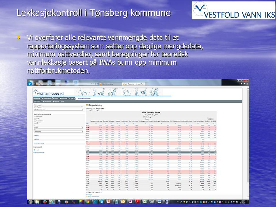 Lekkasjekontroll i Tønsberg kommune Vi overfører alle relevante vannmengde data til et rapporteringssystem som setter opp daglige mengdedata, minimum nattverdier, samt beregninger for teoretisk vannlekkasje basert på IWAs bunn opp minimum nattforbrukmetoden.