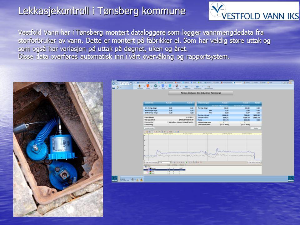 Lekkasjekontroll i Tønsberg kommune Vestfold Vann har i Tønsberg montert dataloggere som logger vannmengdedata fra storforbruker av vann. Dette er mon