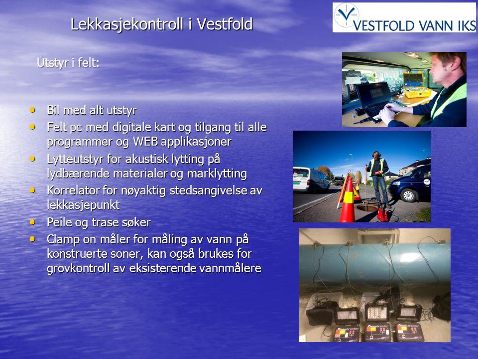 Lekkasjekontroll i Vestfold Utstyr i felt: Bil med alt utstyr Bil med alt utstyr Felt pc med digitale kart og tilgang til alle programmer og WEB appli