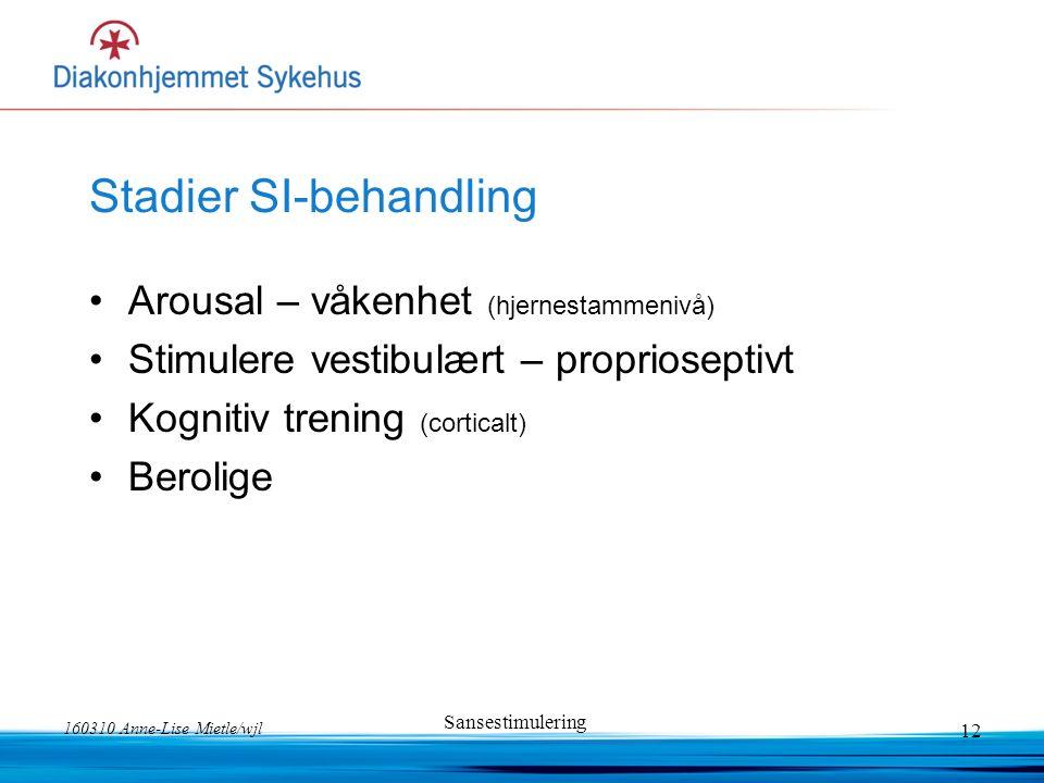 160310 Anne-Lise Mietle/wjl Sansestimulering 12 Stadier SI-behandling Arousal – våkenhet (hjernestammenivå) Stimulere vestibulært – proprioseptivt Kog