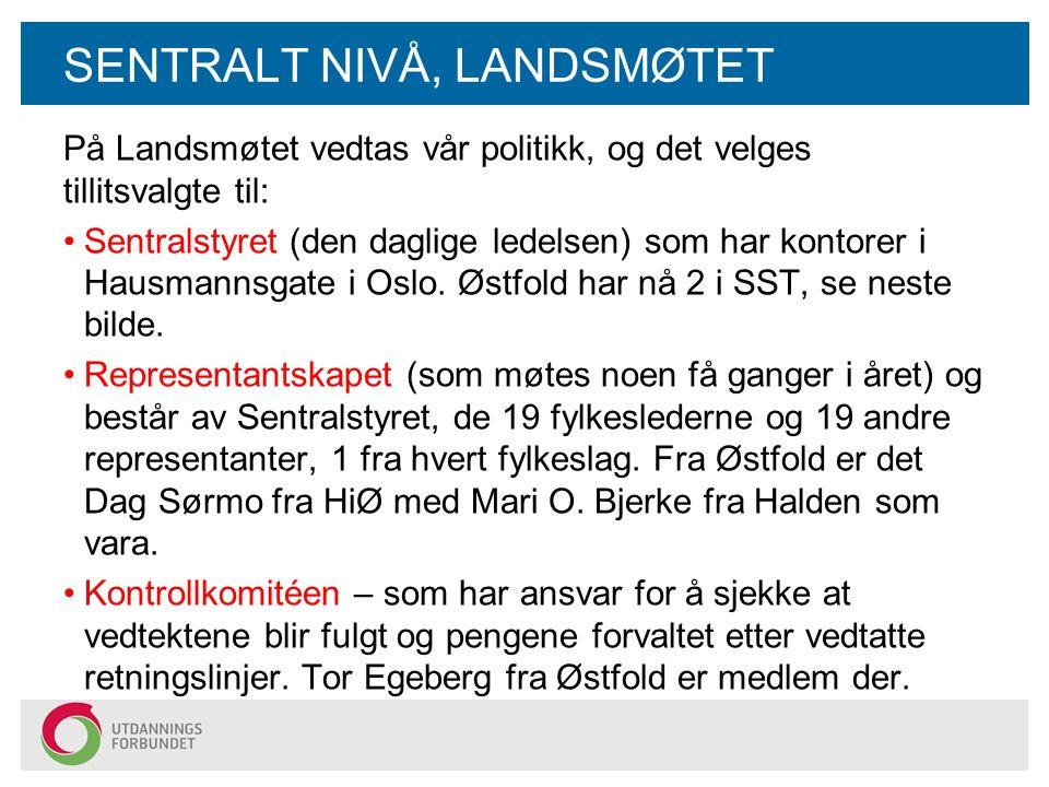 SENTRALT NIVÅ, LANDSMØTET På Landsmøtet vedtas vår politikk, og det velges tillitsvalgte til: Sentralstyret (den daglige ledelsen) som har kontorer i Hausmannsgate i Oslo.