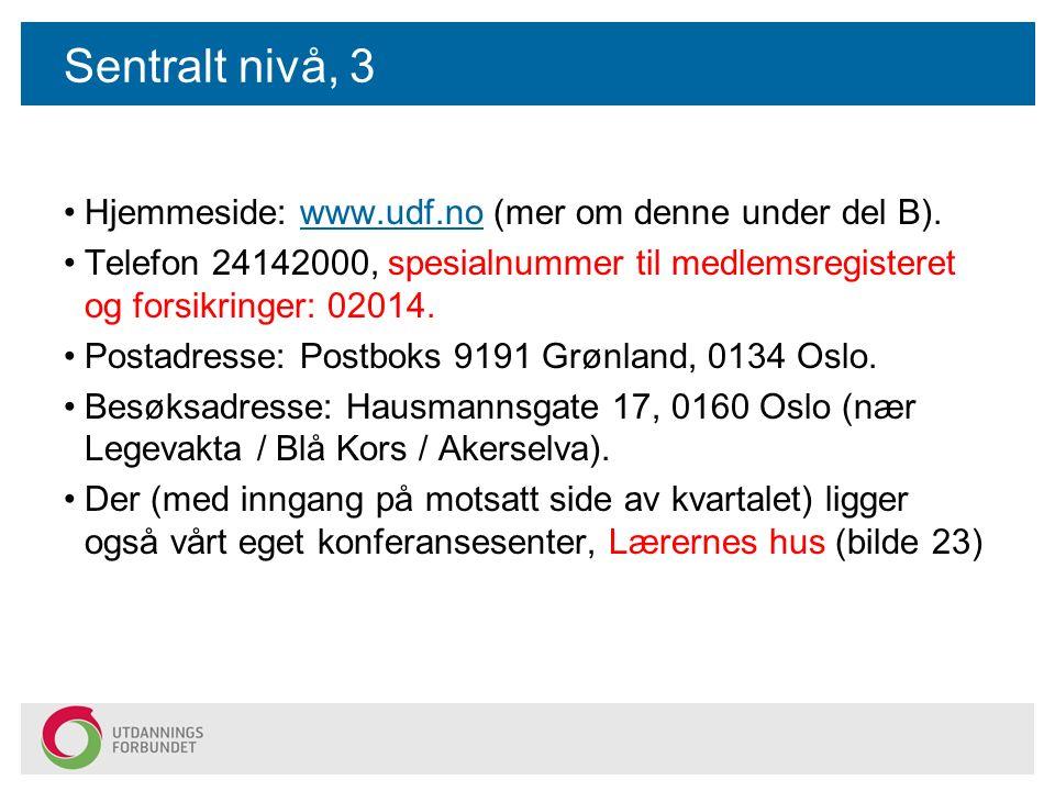Sentralt nivå, 3 Hjemmeside: www.udf.no (mer om denne under del B).www.udf.no Telefon 24142000, spesialnummer til medlemsregisteret og forsikringer: 02014.