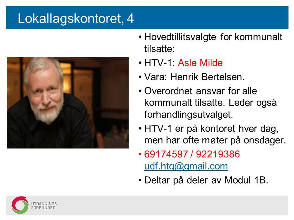 Lokallagskontoret, 4 Hovedtillitsvalgte for kommunalt tilsatte: HTV-1: Asle Milde Vara: Henrik Bertelsen.